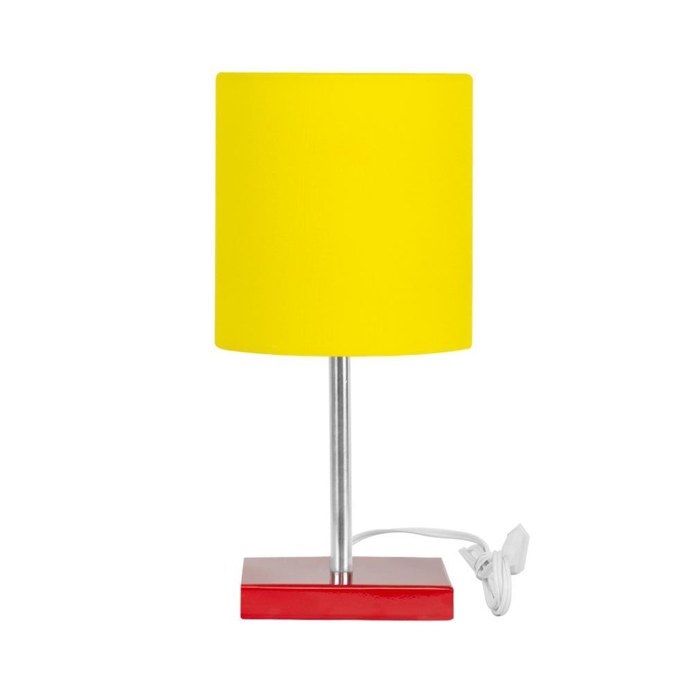 Abajur Eros Touch Cilindrico Amarelo Base Todo Vermelho Q.
