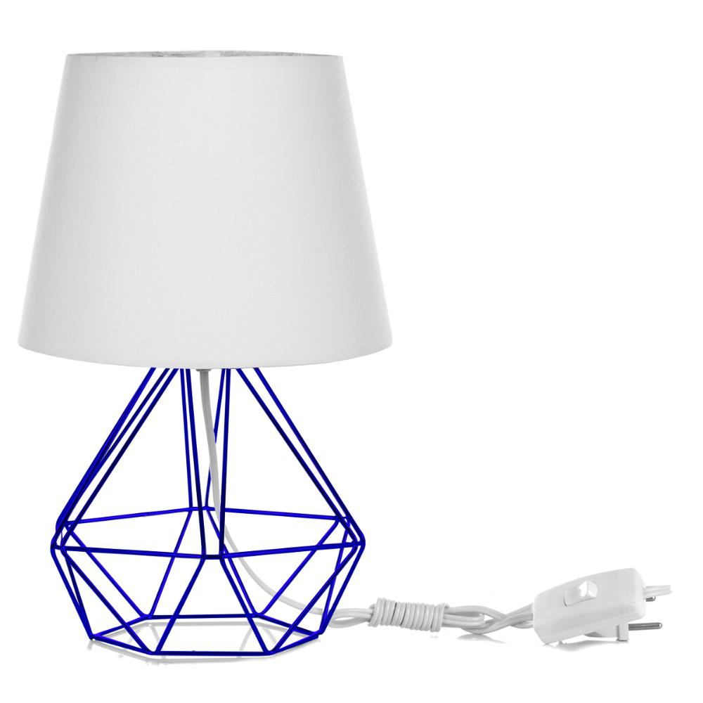 Abajur Diamante Dome Branco Com Aramado Azul