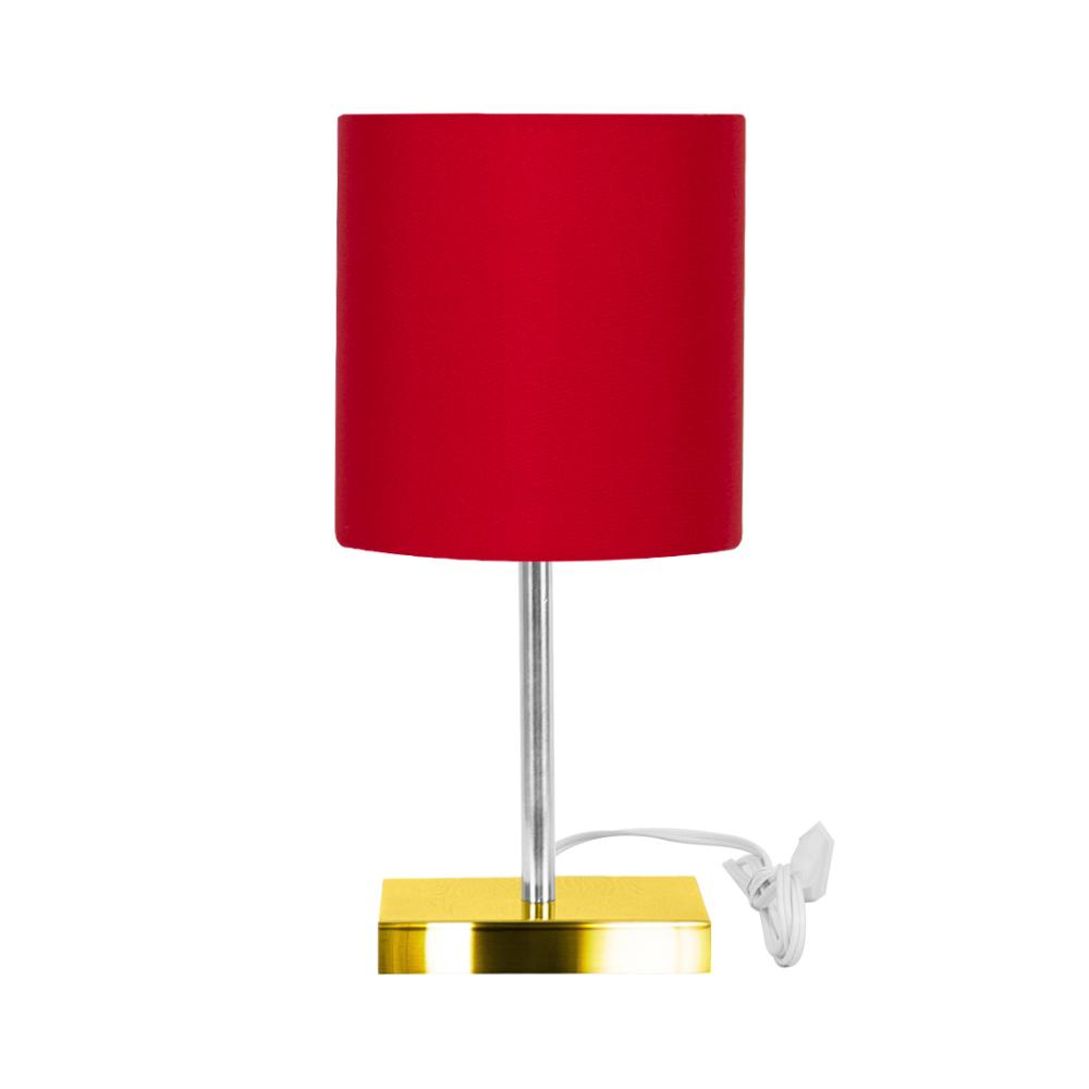 Abajur Eros Touch Cilindrico Vermelho Base Todo Dourado Quad