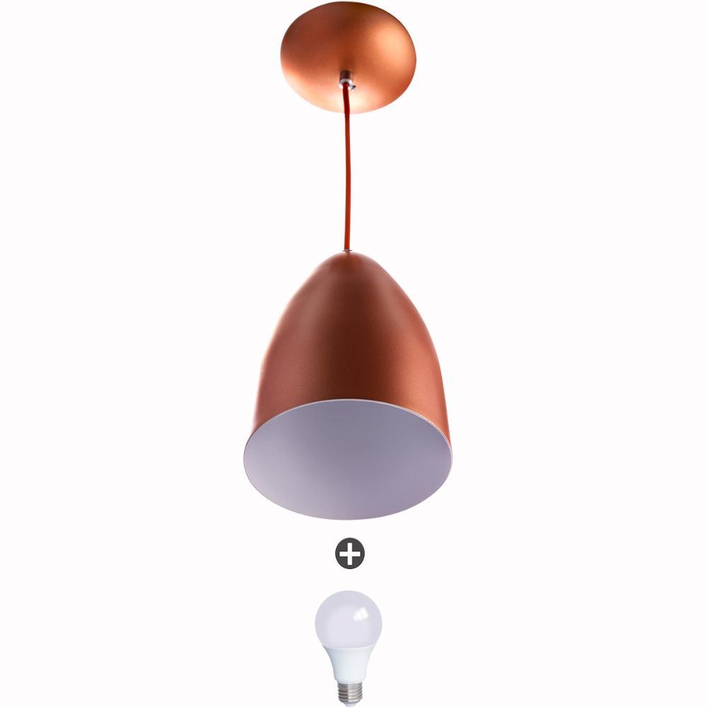 Lustre Pendente Cone Alumínio 20x14cm Cobre + Lampada
