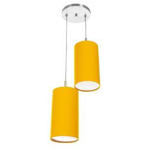Pendente Cilindrica Duplo De Cupula 14x25cm Amarelo