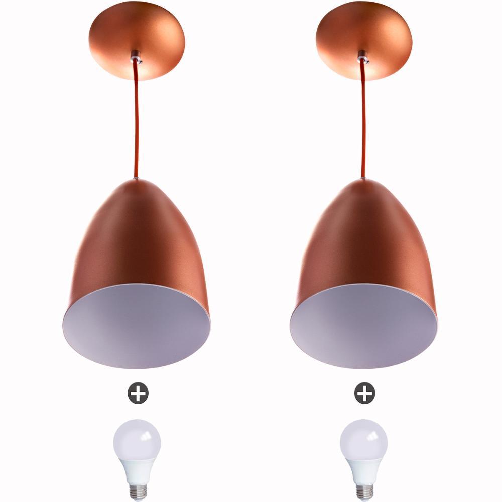 Kit 2 Lustre Pendente Cone De Alumínio 20x14cm Cobre + Lampada