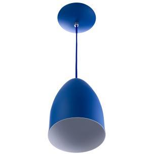 Lustre Pendente Cone Alumínio 20x14cm Azul + Lampada