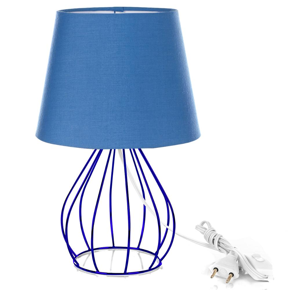Abajur Cebola Dome Azul Com Aramado Azul
