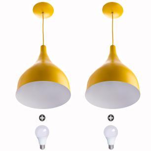2 Lustres Pendente Gota Media Alumínio 30cm Amarelo + Lampada