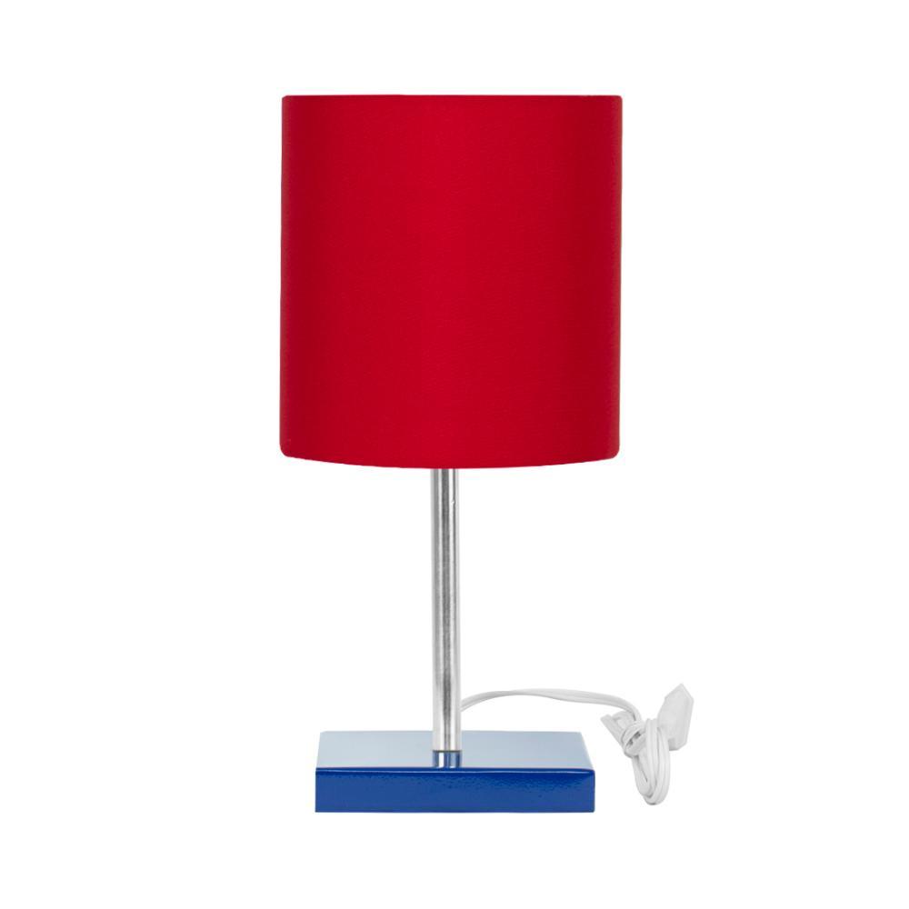 Abajur Eros Touch Cilindrico Vermelho Base Azul Quadrada