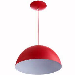 2 Lustres Pendente Meia Lua 30cm Alumínio Vermelho + Lampada