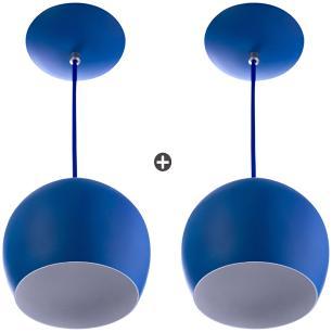 Kit 2 Lustres Pendente Bola Média Alumínio 23cm Azul
