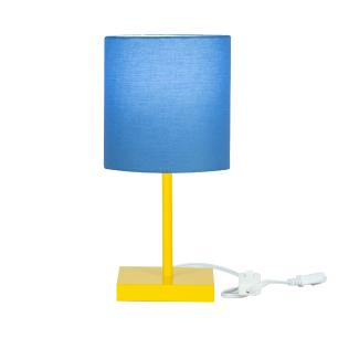 Abajur Eros Cilindrico Azul Base Toda Amarela Quadrada