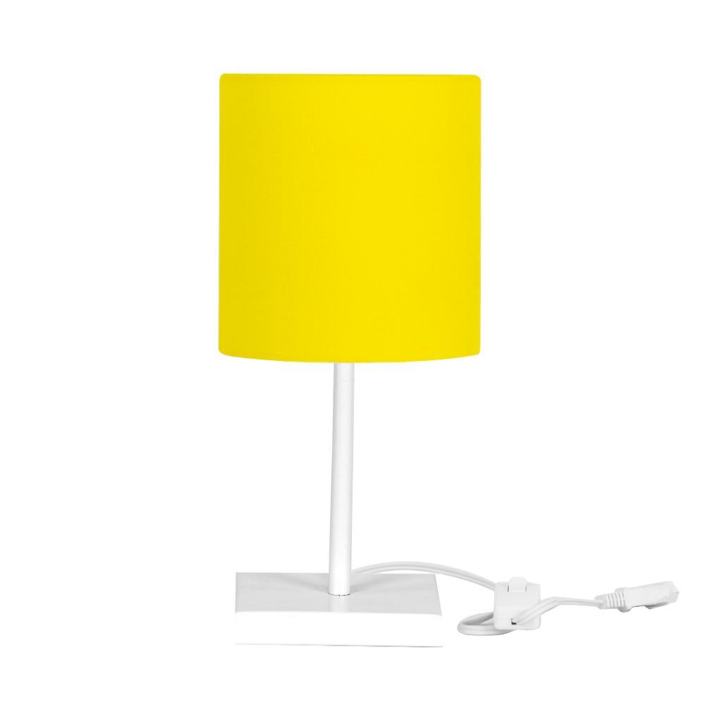 Abajur Eros Cilindrico Amarelo Base Toda Branca Quadrada
