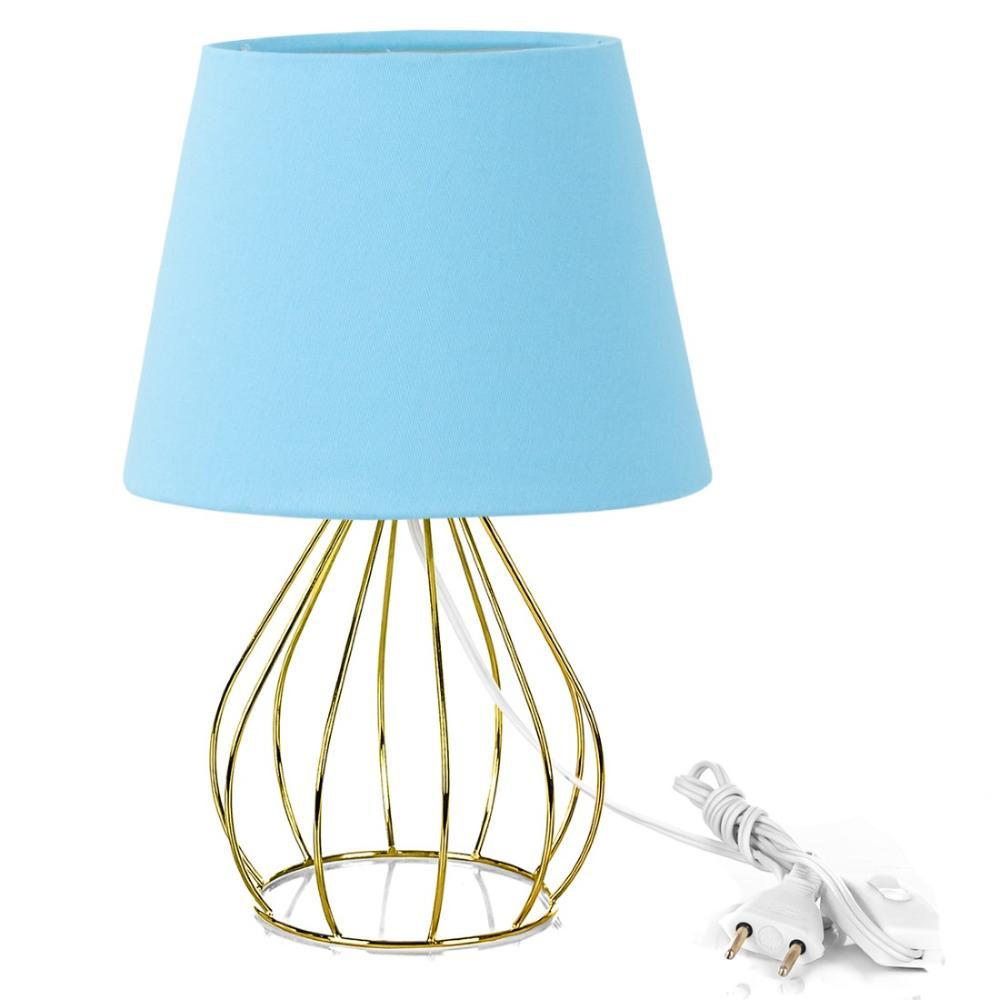 Abajur Cebola Dome Azul Bebe Com Aramado Dourado
