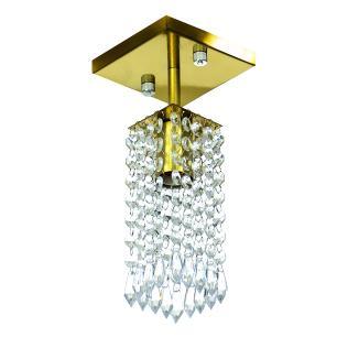 Kit 2 Lustre Clearcrillic Cristal Acrílico Quadrado Dourado