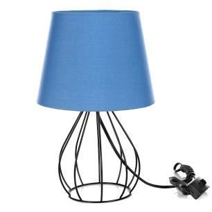 Abajur Cebola Dome Azul Com Aramado Preto