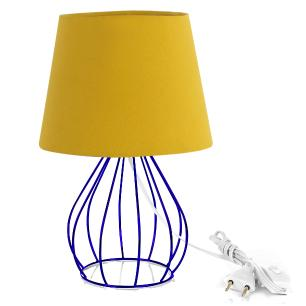 Abajur Cebola Dome Amarelo Mostarda Com Aramado Azul