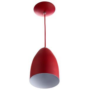 Kit 2 Lustre Pendente Cone De Alumínio 20x14cm Vermelho