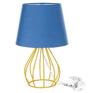 Abajur Cebola Dome Azul Com Aramado Amarelo