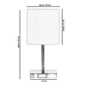 Abajur Eros Touch Cilindrico Branco C/ Base Quadrada de Inox