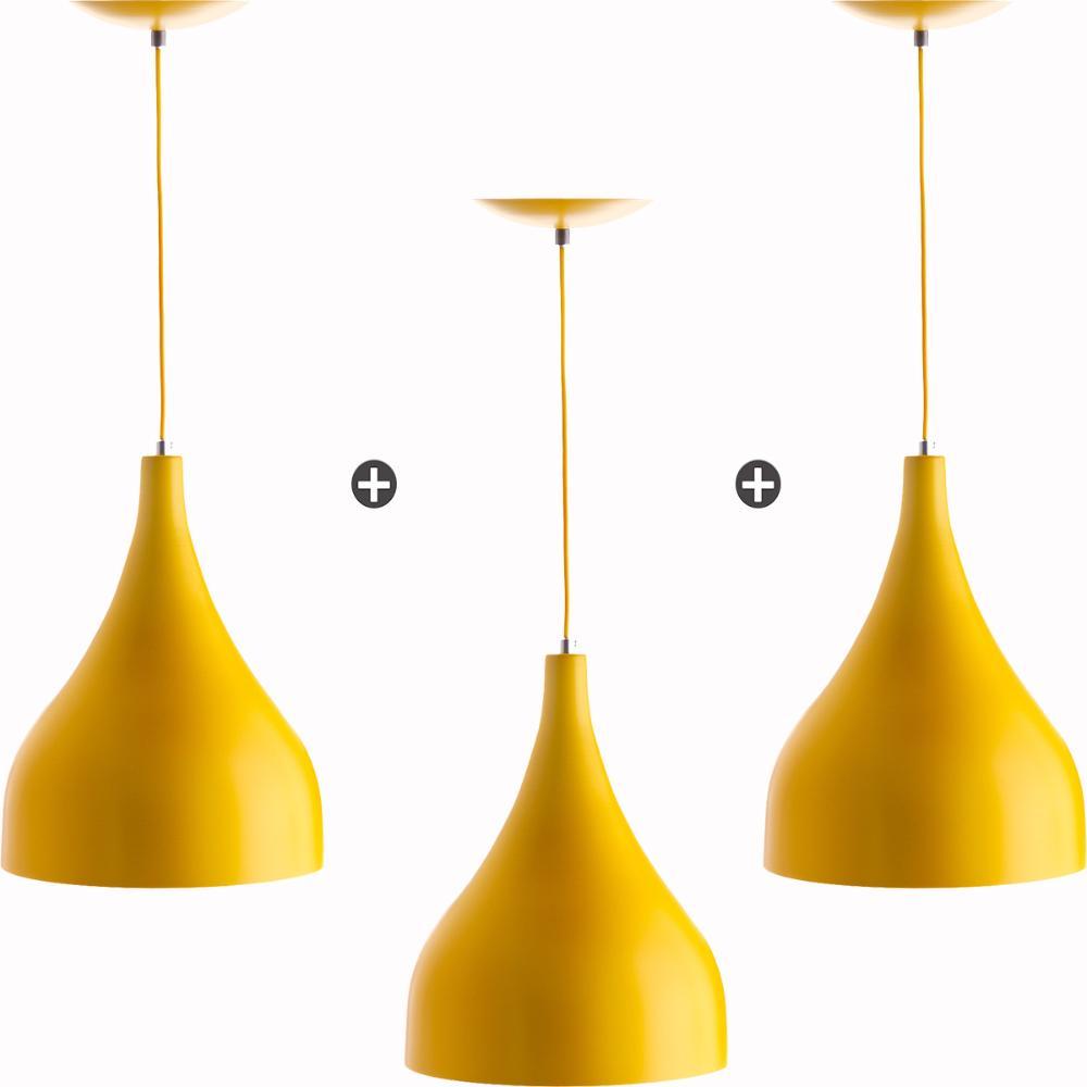 Kit 3 Lustres Pd Gota Media Alumínio 30cm Soquete E27 Amarelo