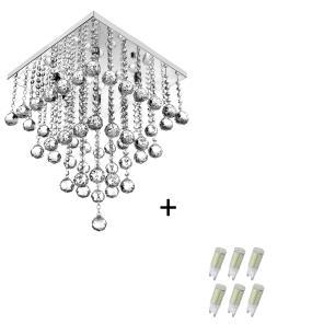 Lustre Pendente De Cristal Legitimo Classic Square Long 40 com Lâmpadas 6000K (Branca Fria)