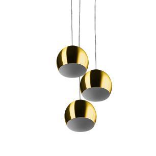 Lustre Pendente Aluminio Bola Triplo 15cm Dourado