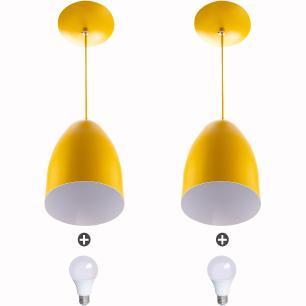 Kit 2 Lustre Pendente Cone De Alumínio 20x14cm Amarelo + Lampada