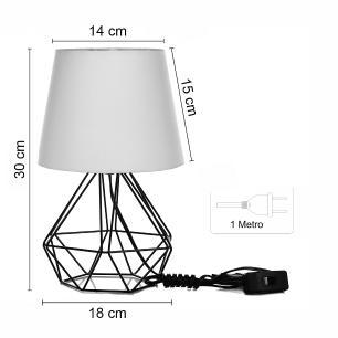 Kit 2 Abajur Diamante Dome Bege Com Aramado Cobre