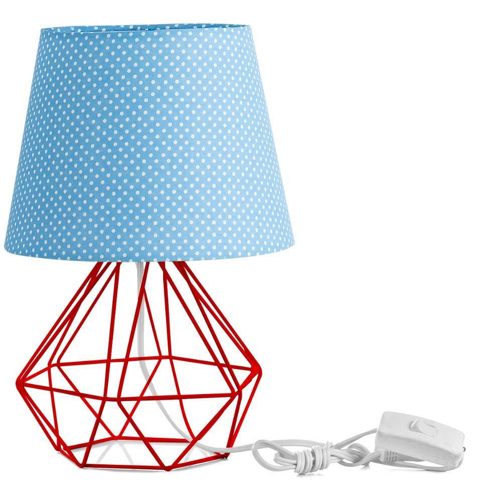 Abajur Diamante Dome Azul/bolinha Com Aramado Vermelho