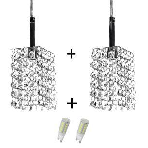Kit 2 Lustres Pendente Quadrado Clearcast Cristal Legitimo com Lâmpadas 3000K (Branco Quente)