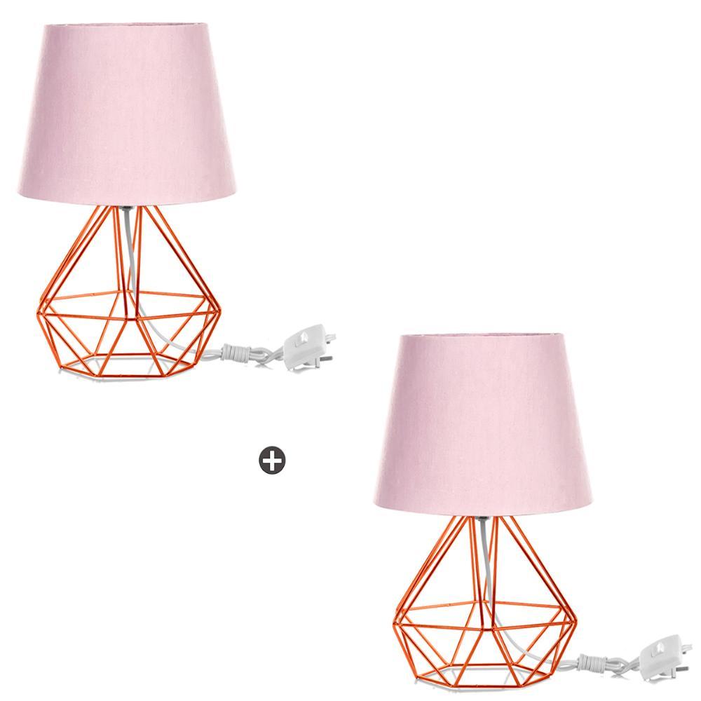 Kit 2 Abajur Diamante Dome Rosa Com Aramado Cobre