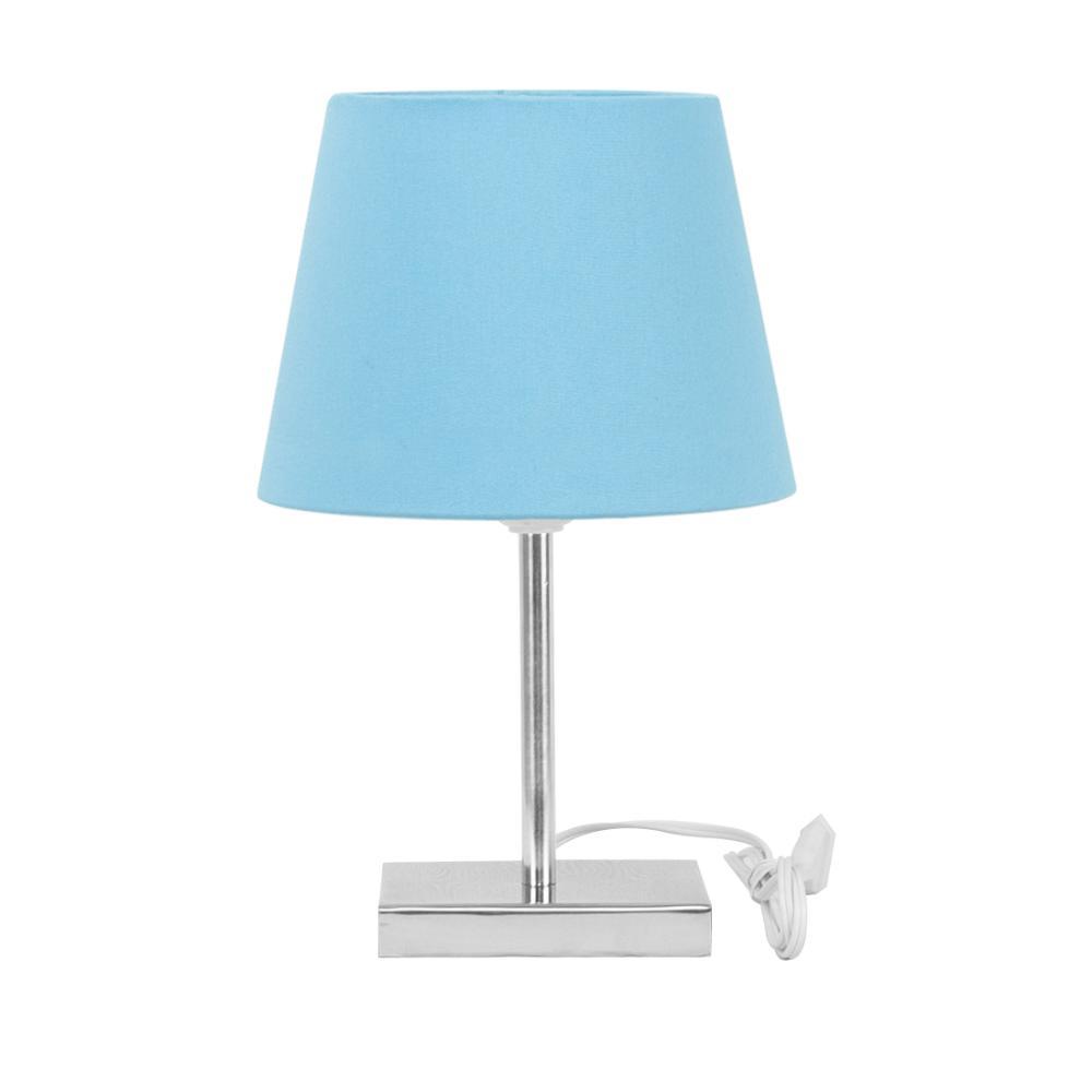 Abajur Eros Touch Dome Azul Bebe com Base Quadrada.