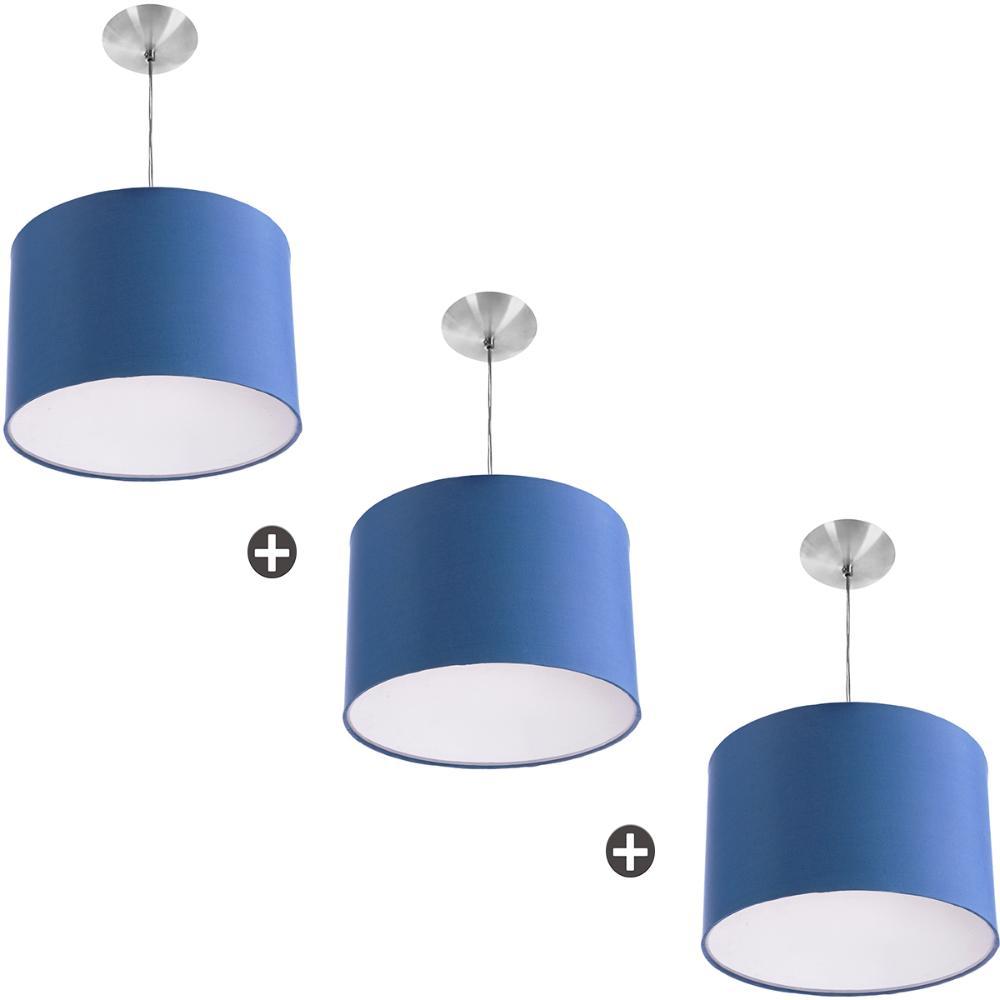 Kit 3 Lustres Cupula Pendente Dome 30x20cm Magnífico Azul