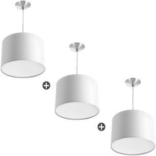 Kit 3 Lustres Cupula Pendente Dome 30x20cm Magnífico Branco