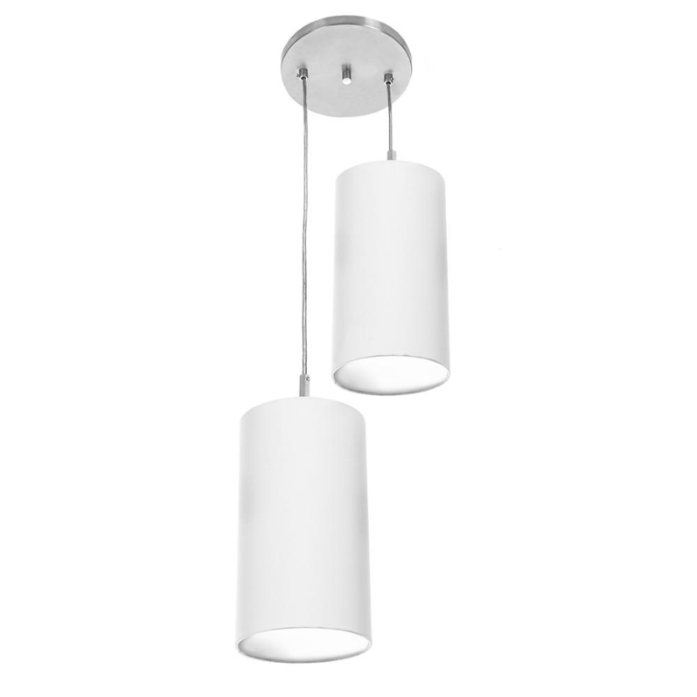 Pendente Cilindrica Duplo De Cupula 14x25cm Branco