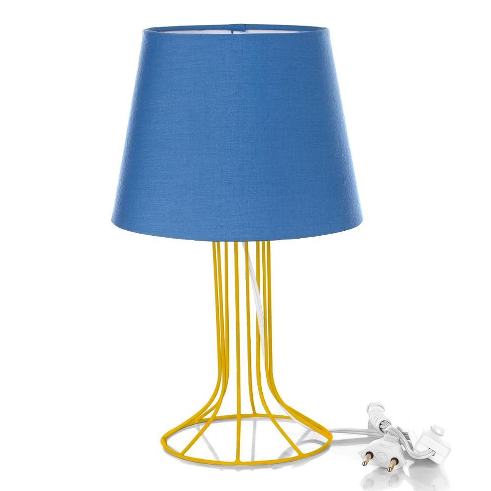 Abajur Torre Dome Azul Com Aramado Amarelo