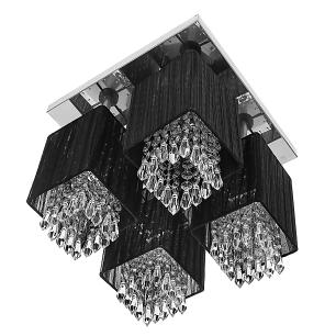 Lustre Plafon Quadclear Organza Quadrado Preto Maravilhoso