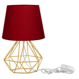 Abajur Diamante Dome Vermelho Com Aramado Amarelo