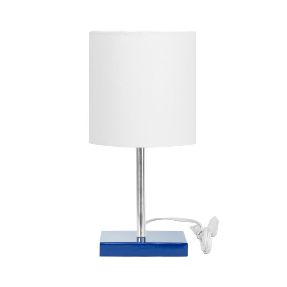 Abajur Eros Touch Cilindrico Branco Base Azul Quadrada
