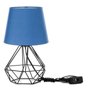 Kit 2 Abajur Diamante Dome Azul Com Aramado Preto