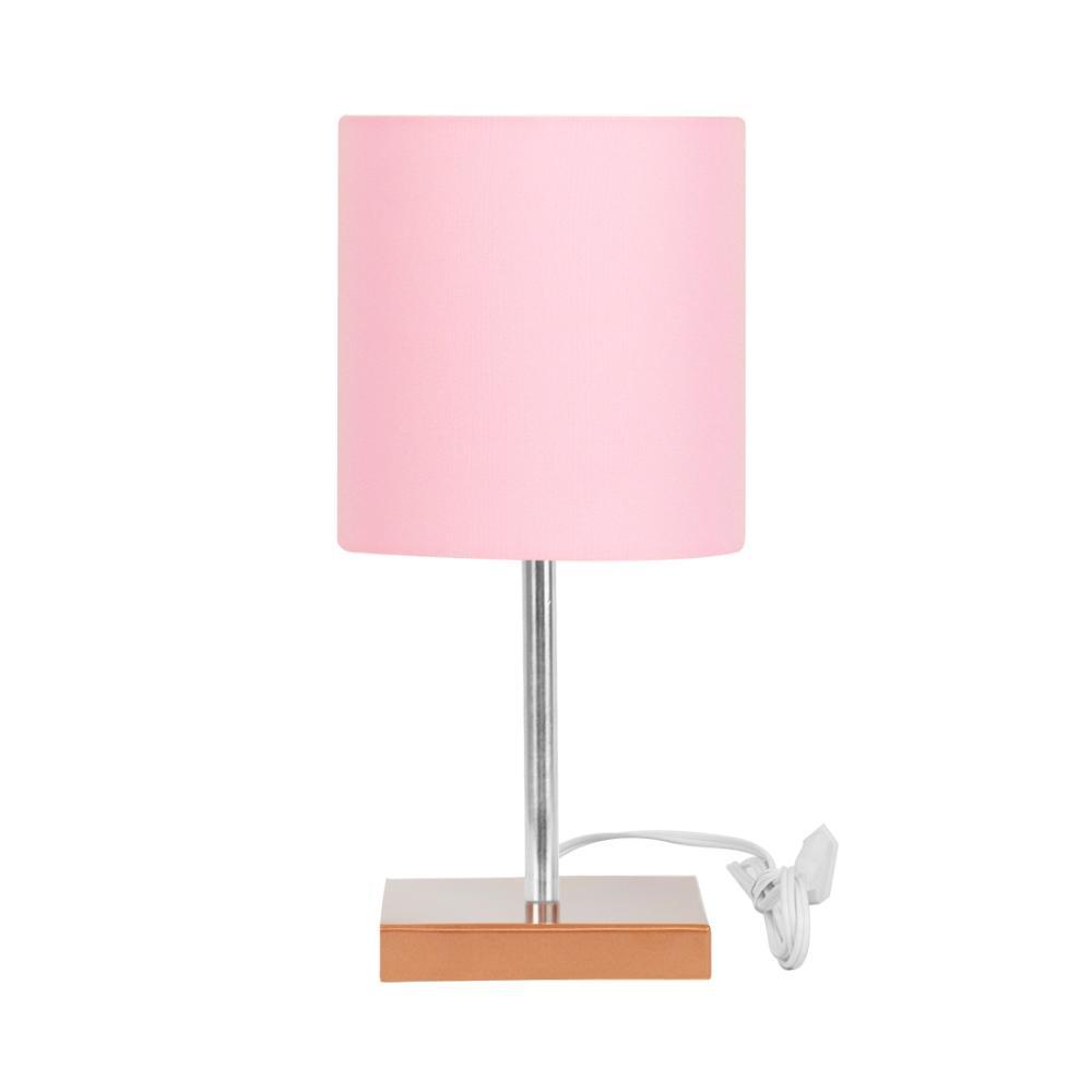 Abajur Eros Touch Cilindrico Rosa Base Cobre Quadrada