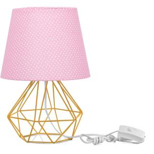 Abajur Diamante Dome Rosa/bolinha Com Aramado Amarelo