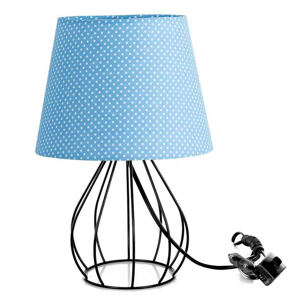 Abajur Cebola Dome Azul/bolinha Com Aramado Preto