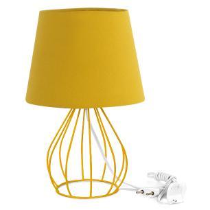 Abajur Cebola Dome Amarelo Mostarda Com Aramado Amarelo
