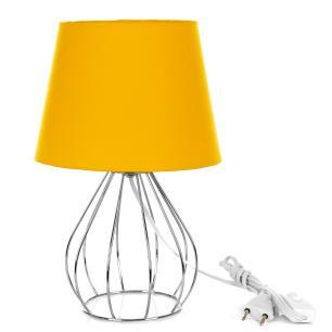 Abajur Cebola Dome Amarelo Com Aramado Cromado
