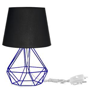 Abajur Diamante Dome Preto Com Aramado Azul