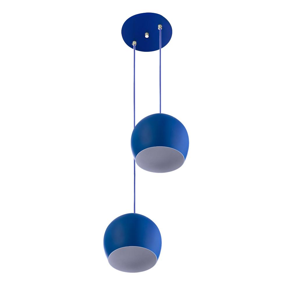 Lustre Pendente Aluminio Bola Duplo 15cm Azul