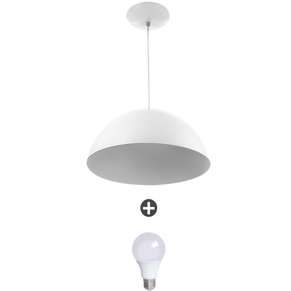 Pendente Meia Lua 30 Alumínio Branco Com Lampada