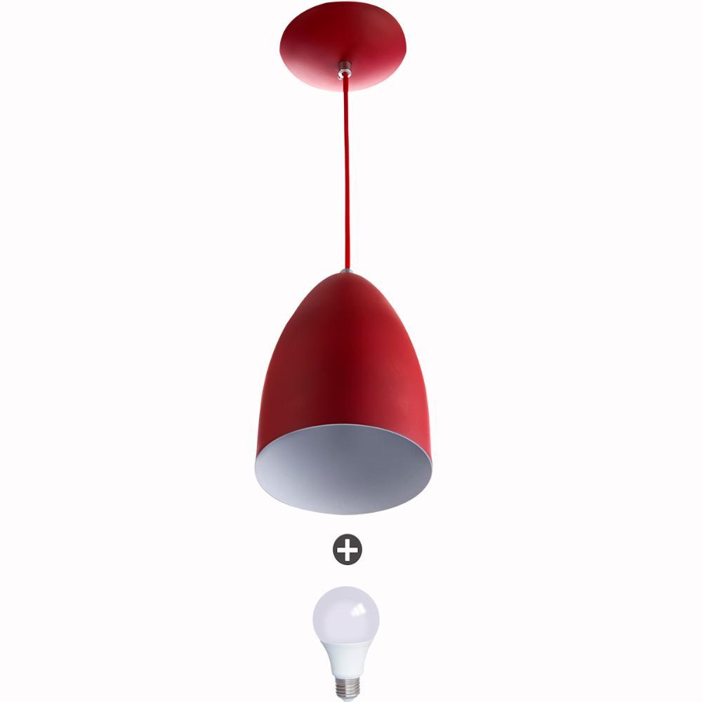 Lustre Pendente Cone Alumínio 20x14cm Vermelho + Lampada