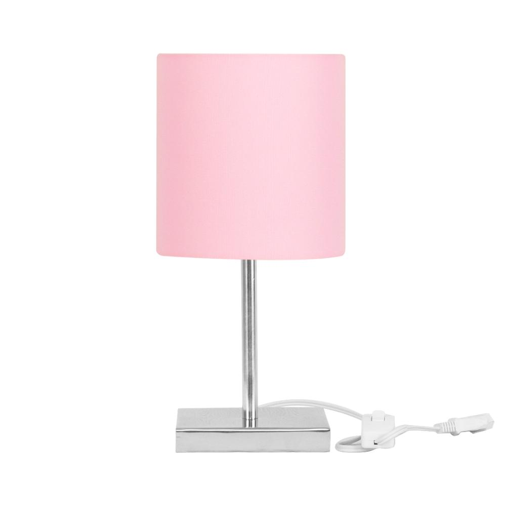 Abajur Eros Cilindrico Rosa Com Base Quadrada De Inox