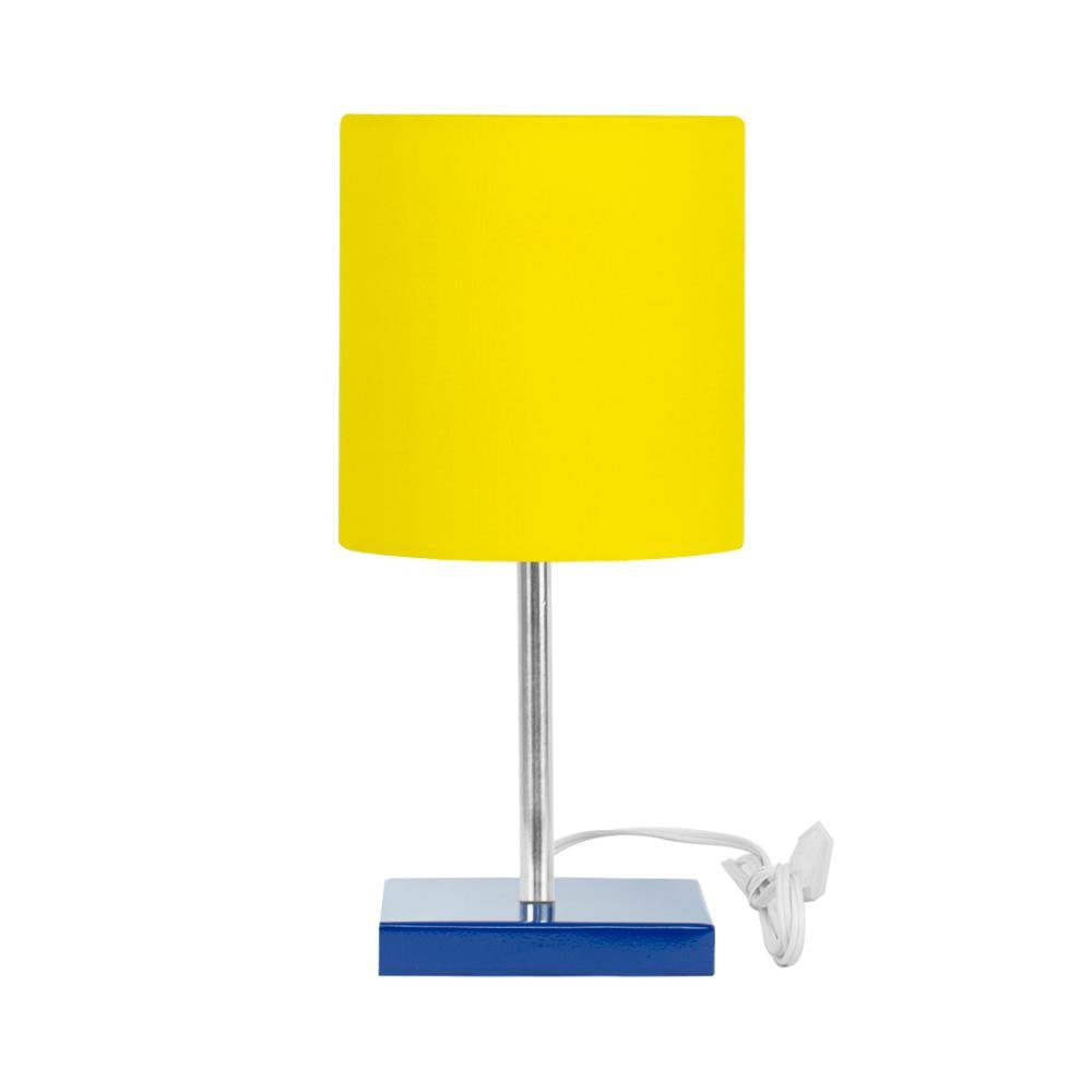 Abajur Eros Touch Cilindrico Amarelo Base Azul Quadrada
