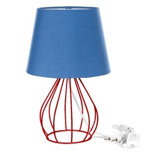 Abajur Cebola Dome Azul Com Aramado Vermelho